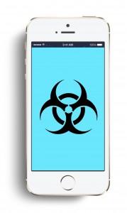 virus phone blue